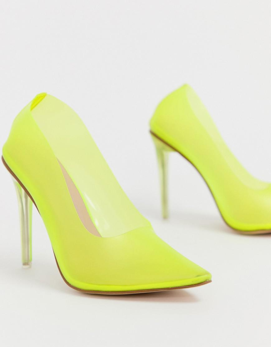 8d4ebc25822 Lyst - Public Desire Drank Neon Yellow Clear Court Shoes in Yellow