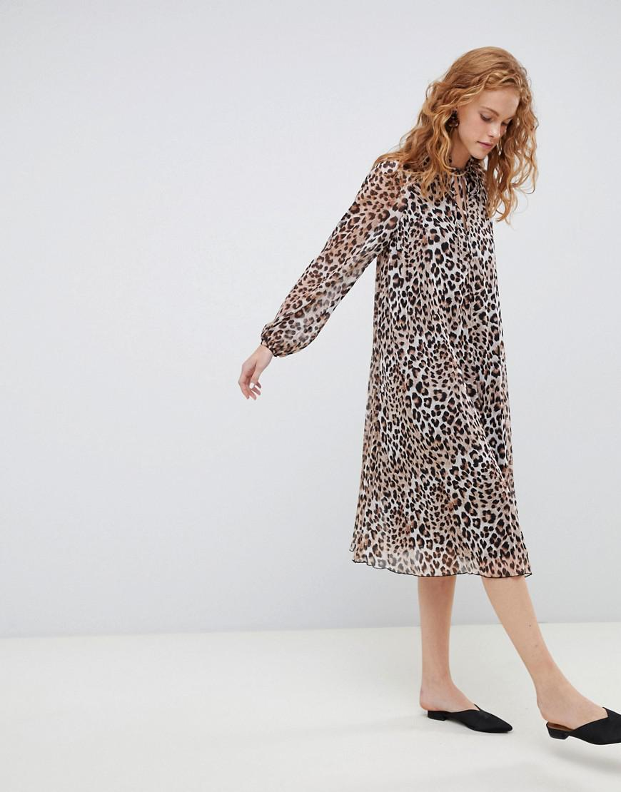 58c775f4597 Lyst - ASOS Pleated Trapeze Midi Dress With Long Sleeves In Leopard ...