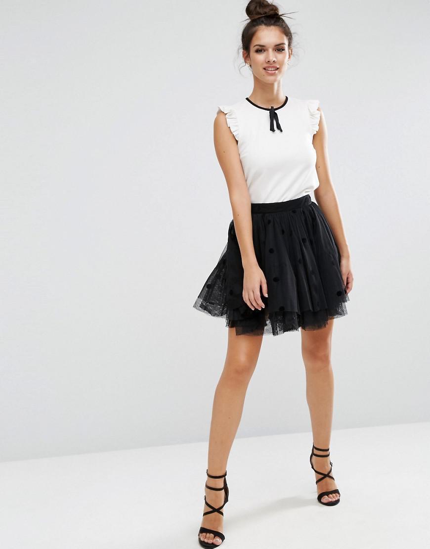 3aed55e30 Lyst - ASOS Mini Tulle Prom Skirt In Flocked Polka Dot in Gray