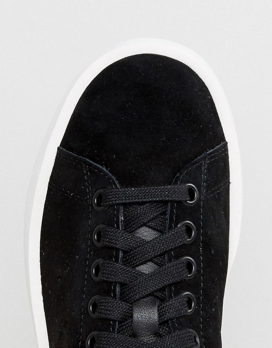 c9720fb7f43ce7 Lyst - adidas Originals Originals Black Nubuck Stan Smith Bold Sole ...