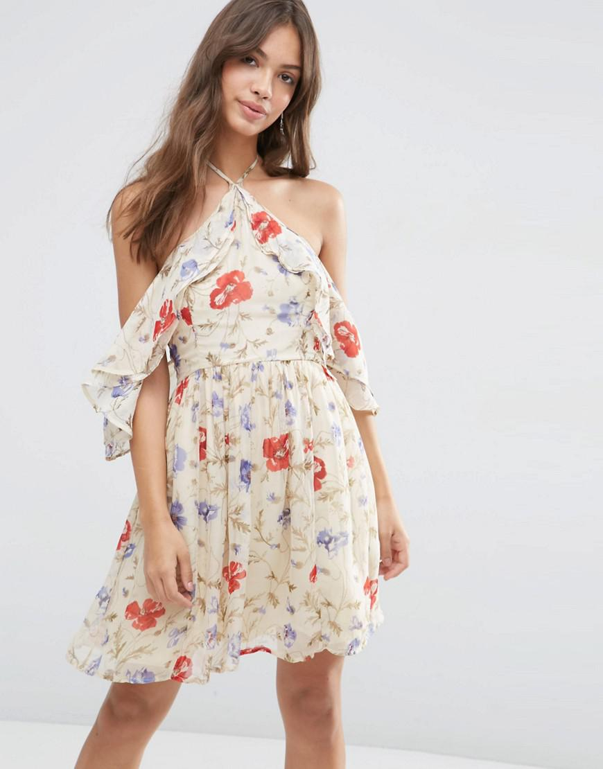 Lyst asos cold shoulder mini dress with ruffle sleeve in for Asos vintage wedding dresses