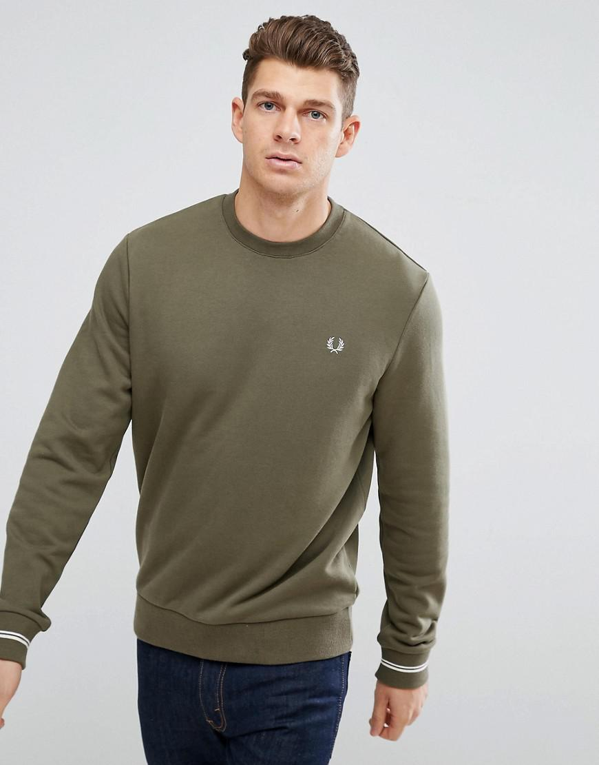 lyst fred perry crew neck tipped cuff sweat in green in green for men. Black Bedroom Furniture Sets. Home Design Ideas