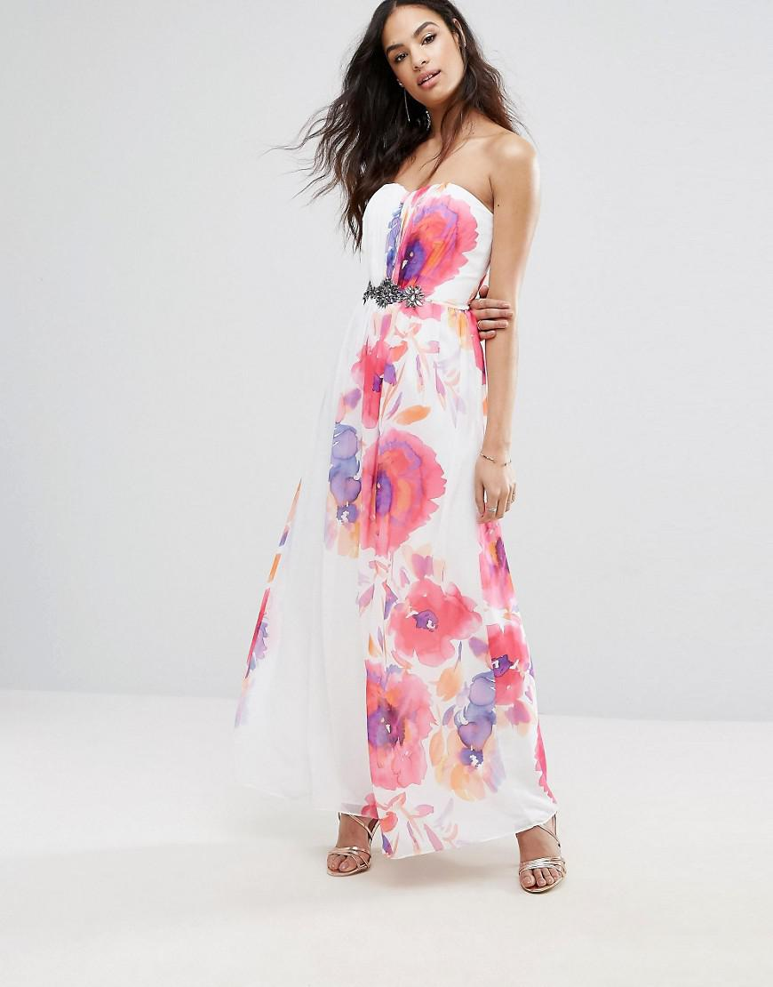 16a98aec6a Lyst - Little Mistress Maxi Dress In Border Floral Print in Pink