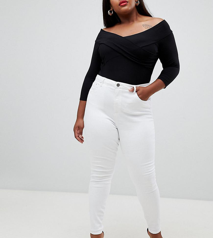 340d5e5f5aa ASOS. Women's Asos Design Curve Ridley High Waist Skinny Jeans In Optic  White