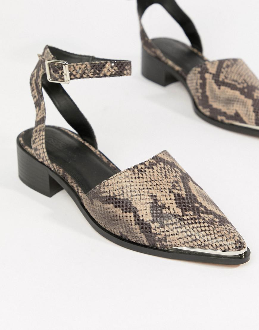 af222886251d ASOS Mamba Pointed Flat Shoes In Snake - Lyst