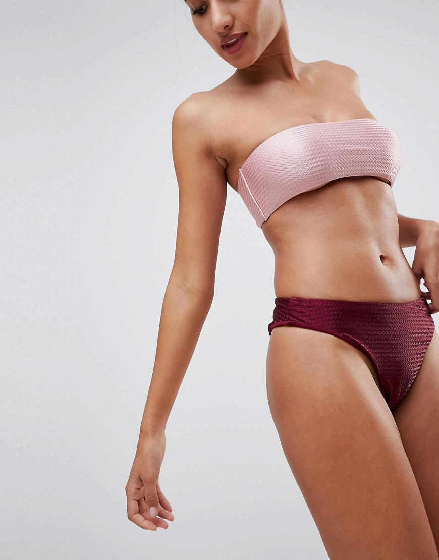 d6908d42df607 Missguided Textured High Leg Bikini Bottoms in Red - Lyst