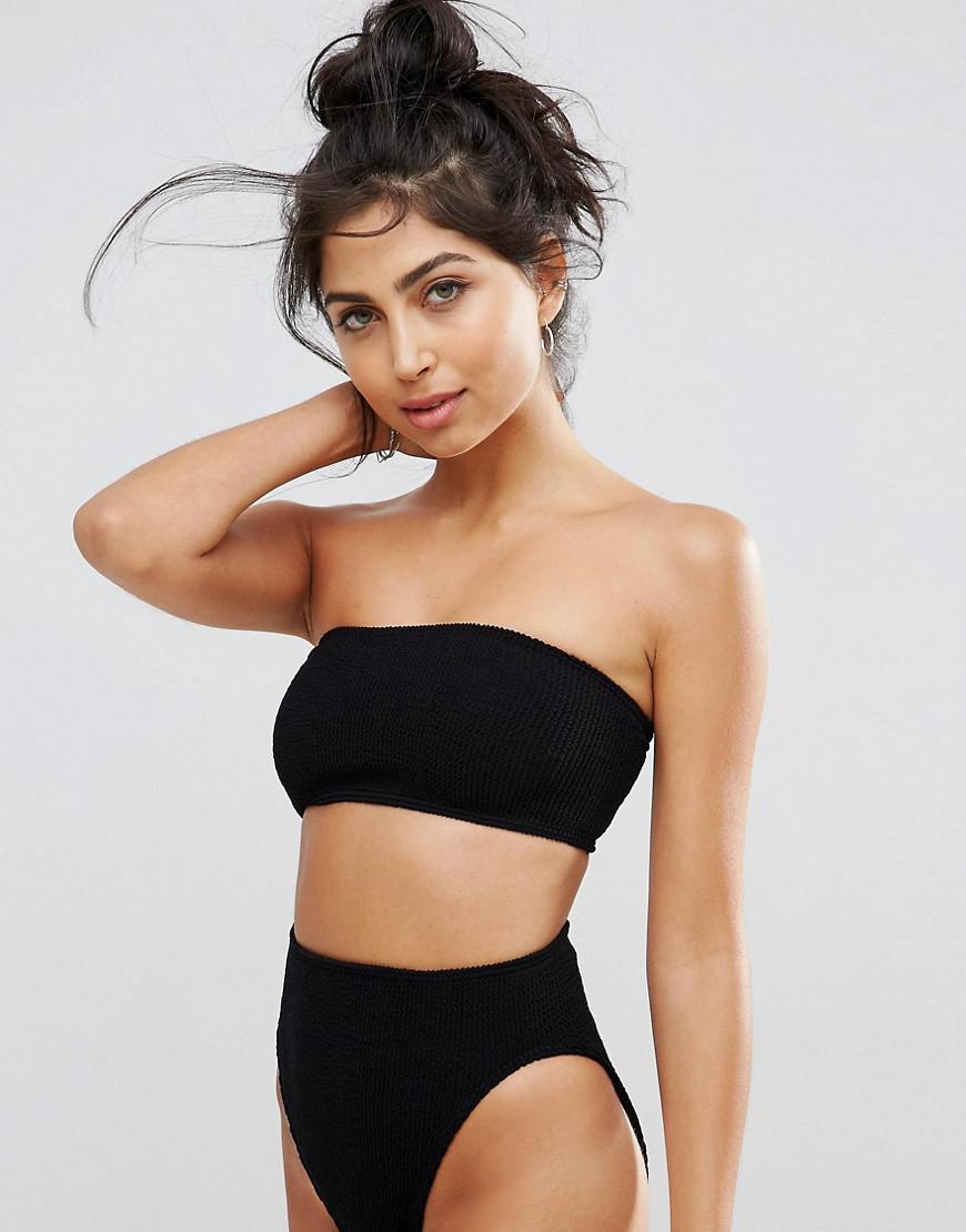 f886b1df86d5b Lyst - ASOS Mix And Match Crinkle Bandeau Bikini Top in Black