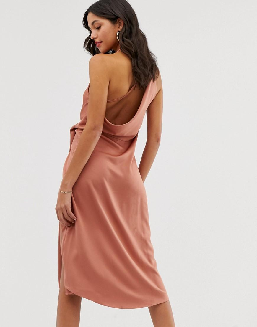 90f14687fb0 ASOS Minimal Drape Midi Dress In Satin in Brown - Lyst