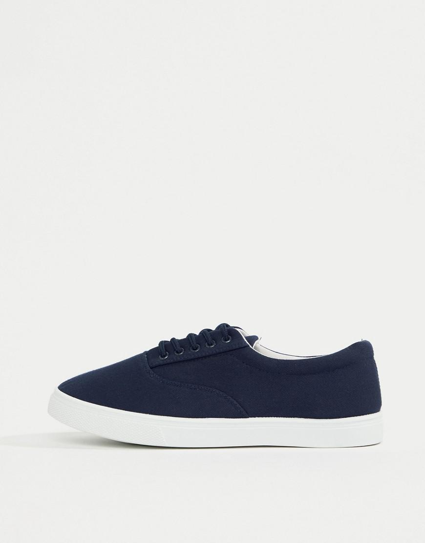Perfect Online Clearance Latest Canvas Lace Up Plimsoll In Navy - Navy New Look lX53H3J6w