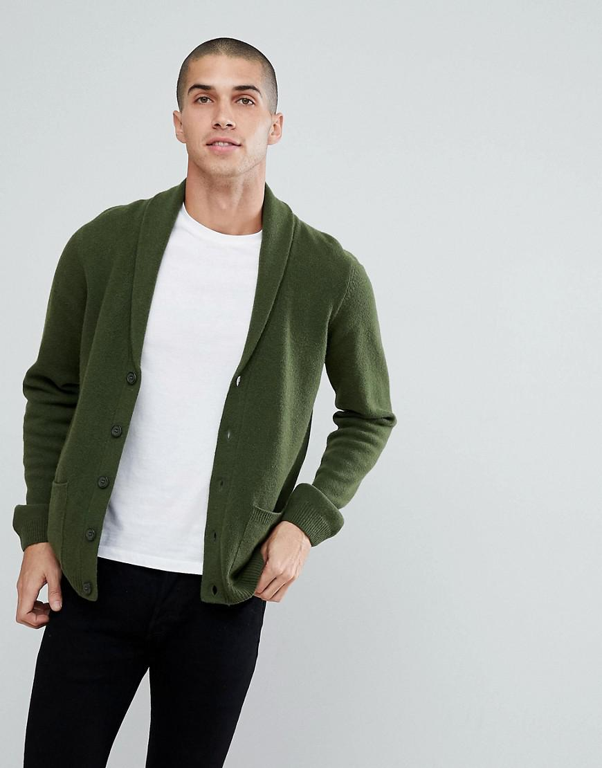Asos Lambswool Shawl Cardigan In Lime Green in Green for Men | Lyst
