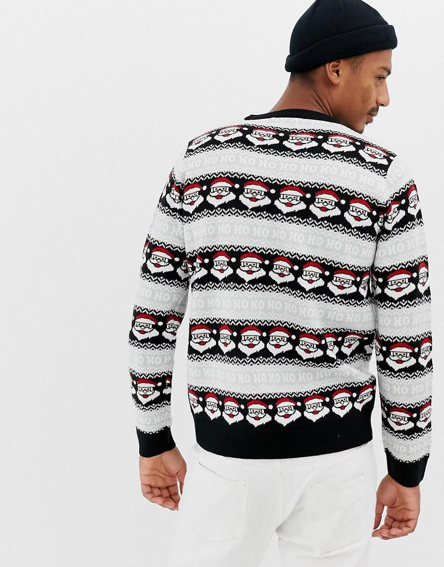 Threadbare Ho Ho Ho Santa Christmas Jumper in Black for Men - Lyst