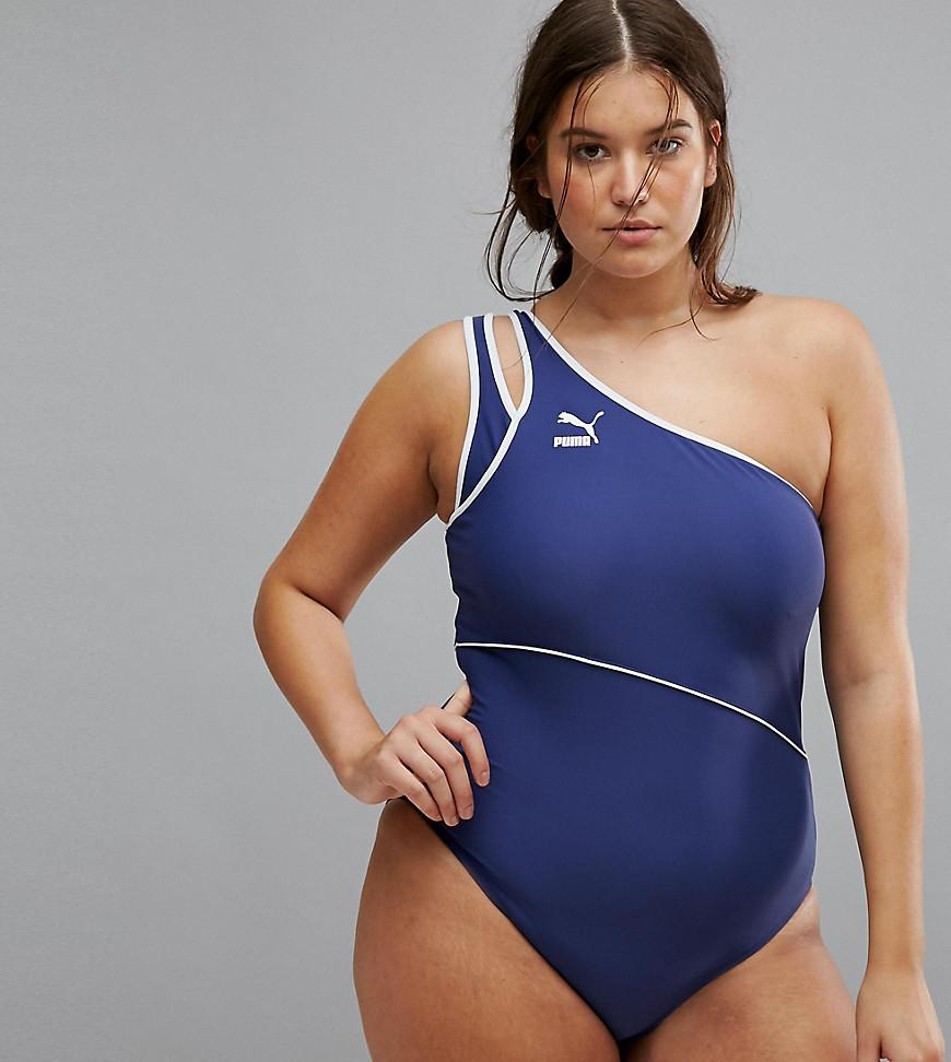 59c42fd2bd PUMA Exclusive To Asos Plus One Shoulder Swimsuit in Blue - Lyst