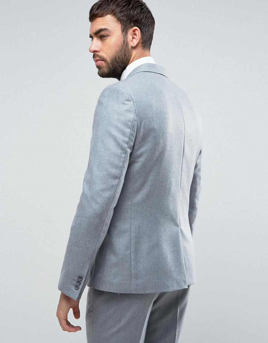 Lyst - Asos Wedding Slim Suit Jacket In Light Grey 100% Merino Wool ...