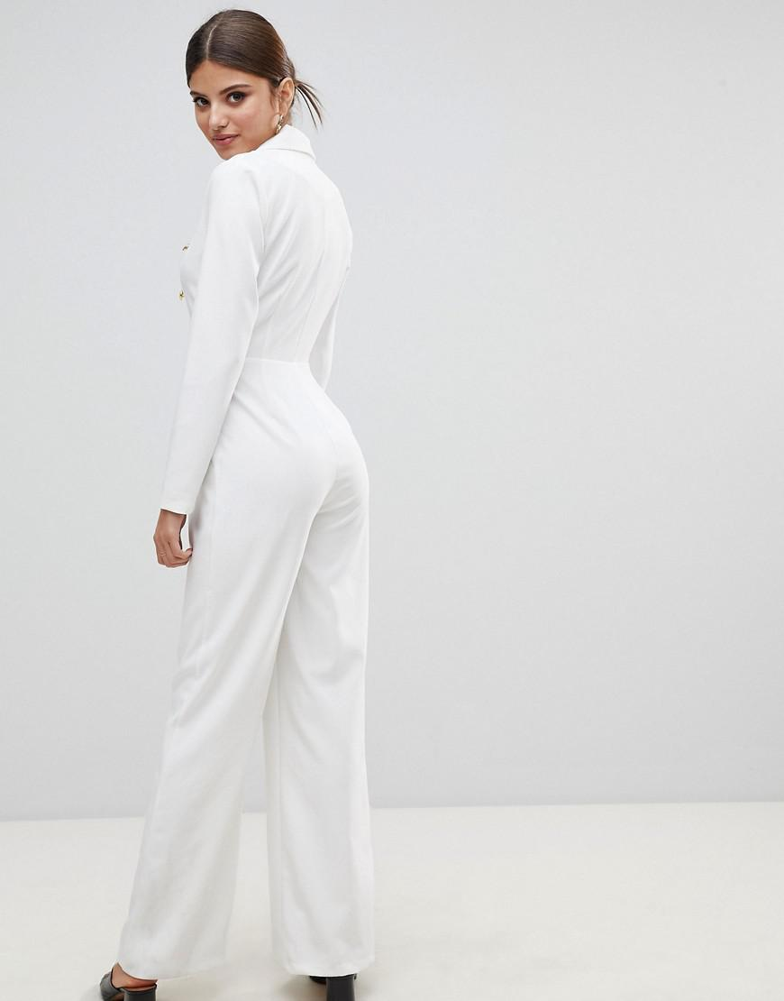 Lyst Missguided Gold Button Jumpsuit In White