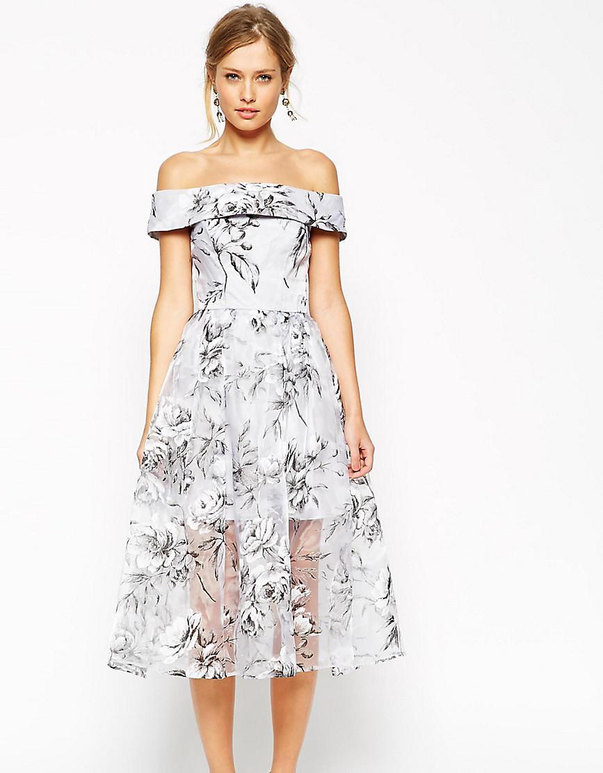 25098090478a ASOS Salon Bardot Dress In Organza Floral Midi in Gray - Lyst
