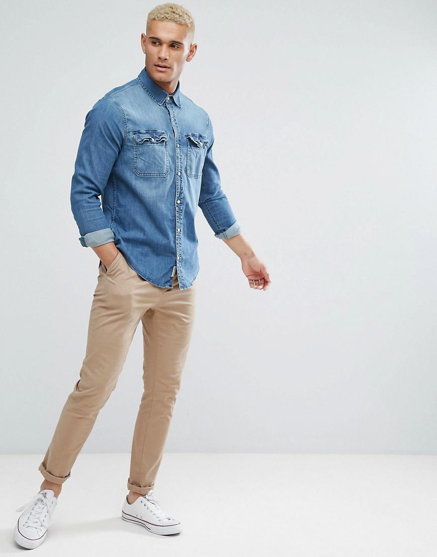 54b453792d Lyst - Hollister Stretch Slim Fit Denim Shirt In Mid Wash Denim in ...