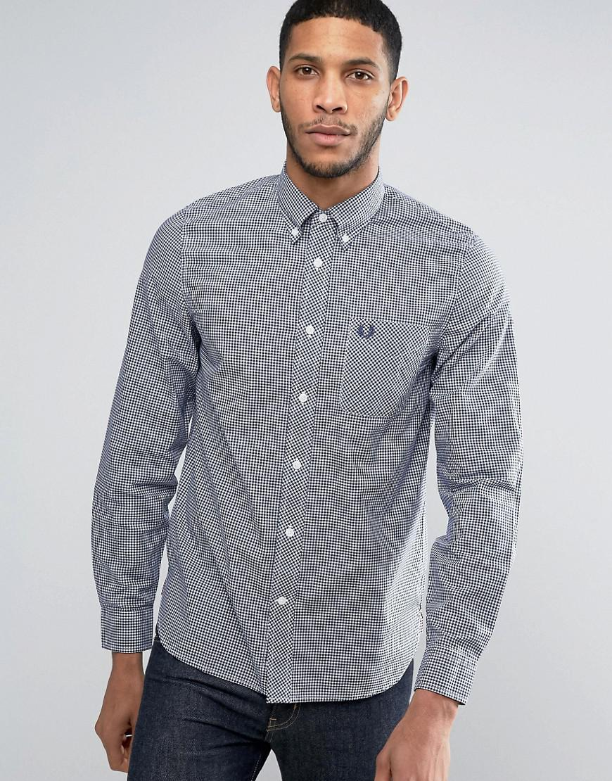 9cae371bd7a Fred Perry Shirt In Slim Fit Gingham With Long Sleeves Blue in Blue ...