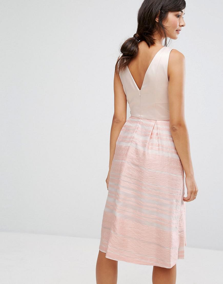 03c9a5e8520 Lyst - Oasis Organza Stripe Midi Skater Dress in Pink