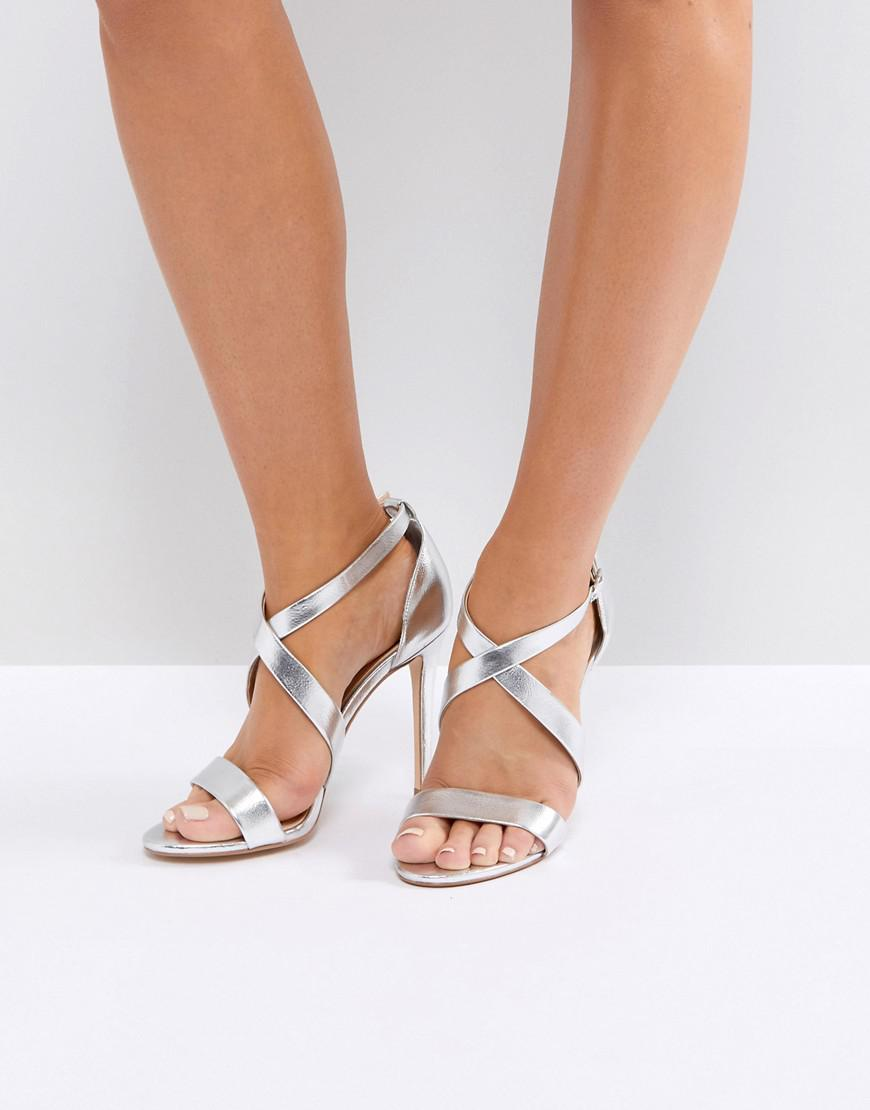 5eb00dc01a08 Office Harper Silver Strappy Heeled Sandals in Metallic - Lyst