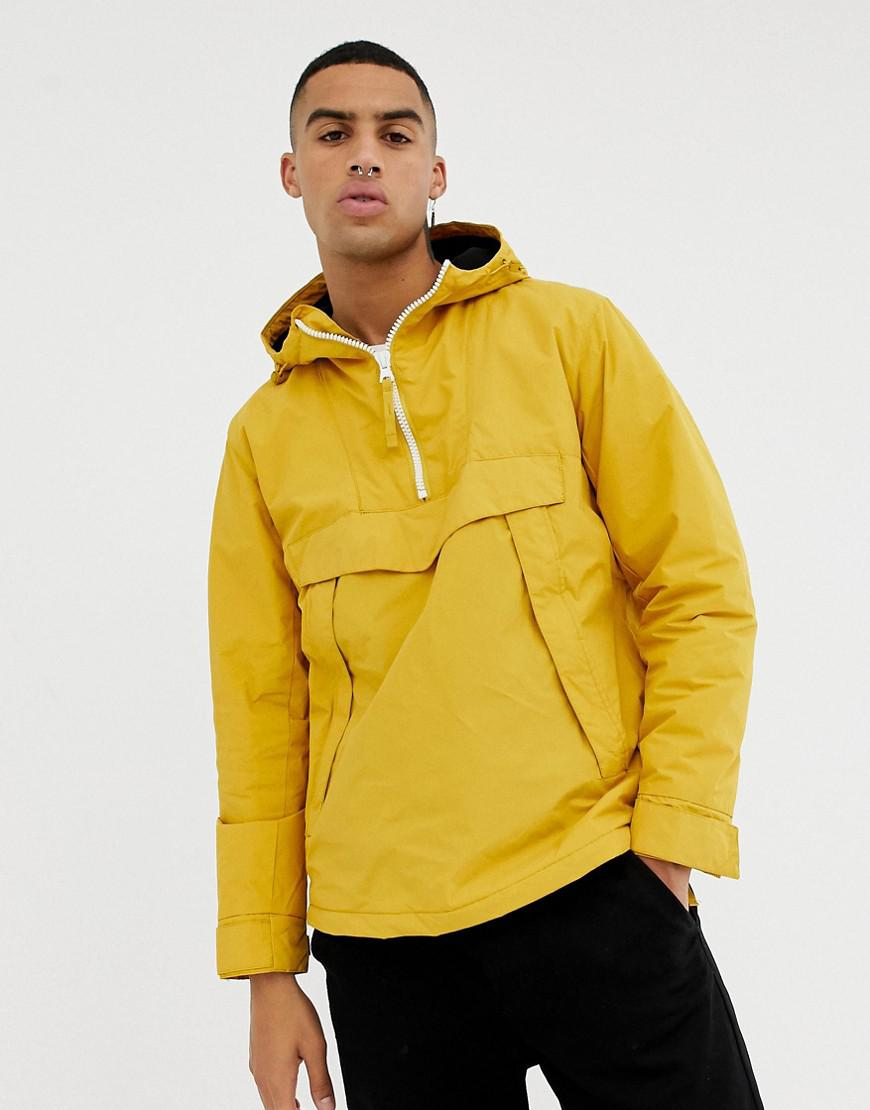 in Hooded Bershka Zips With Zip Jacket In Side And Half Yellow vvxrqwd