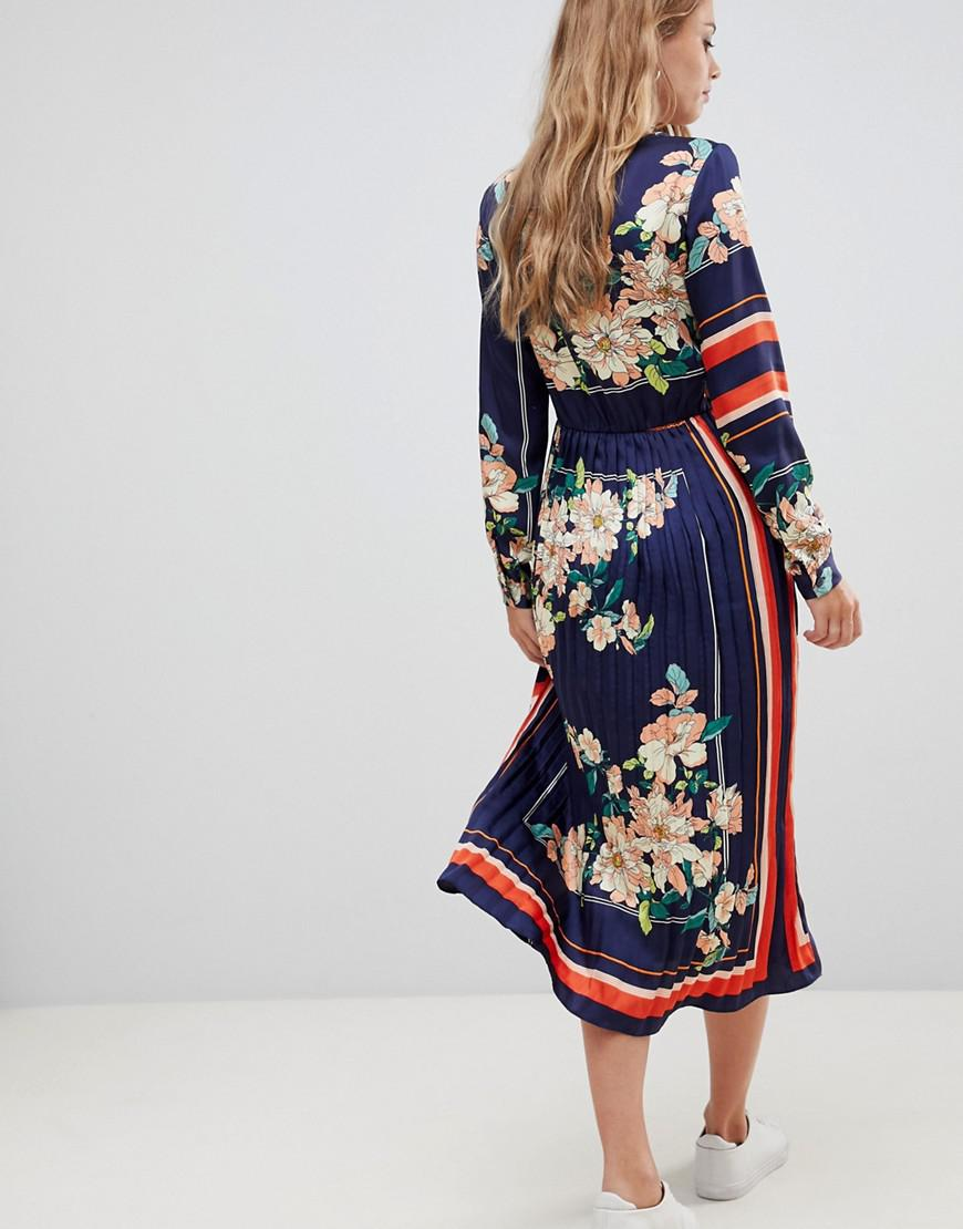 90b719418 Liquorish Midi Dress With Pleated Skirt In Floral And Stripe Print ...