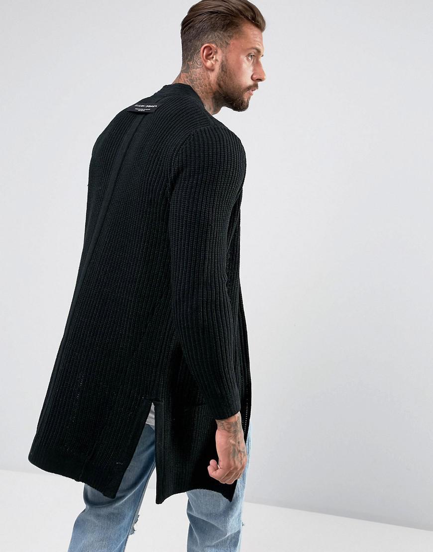 Religion Longline Shawl Cardigan in Black for Men | Lyst