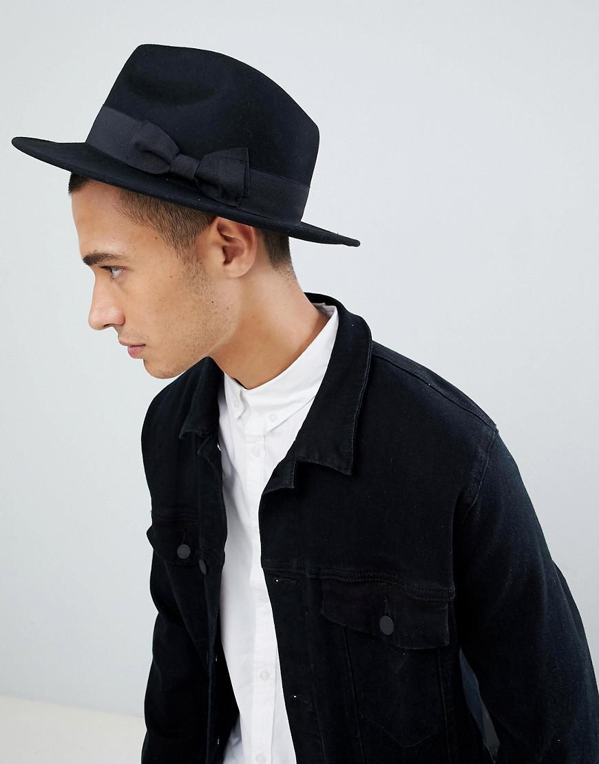 d484f1b0114 ASOS Fedora Hat In Black Felt in Black for Men - Lyst