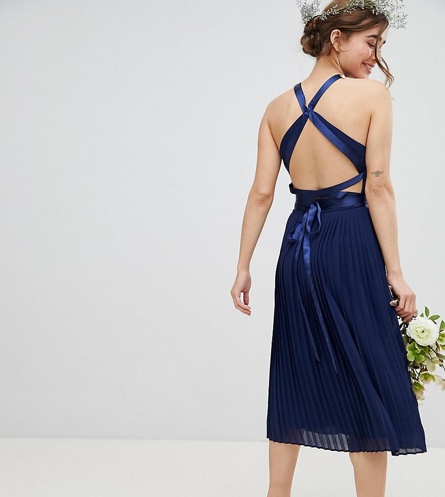 0ef217af8f1f Lyst - TFNC London Pleated Midi Bridesmaid Dress With Cross Back And ...