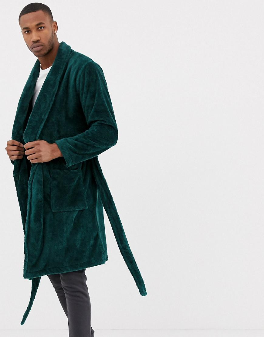 fashion style check out color brilliancy ASOS Fluffy Robe In Emerald Green for men
