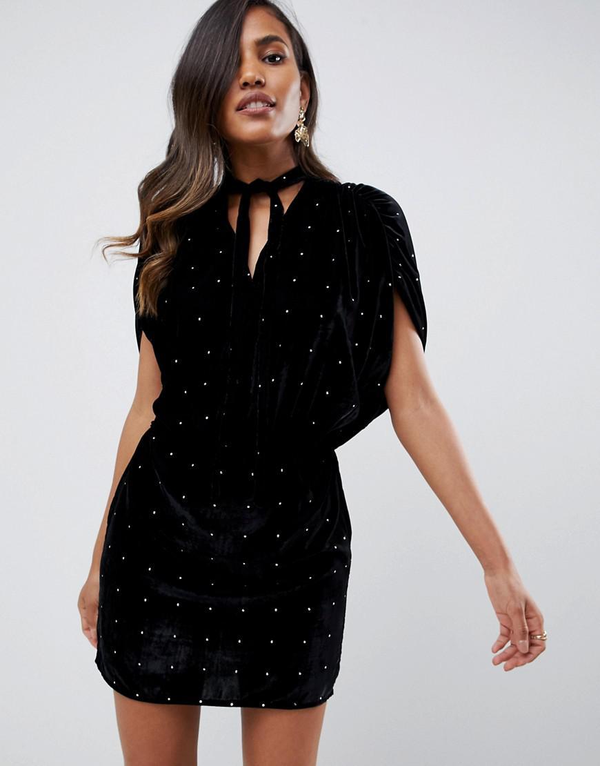 ASOS - Black Velvet Studded Mini Dress - Lyst. View fullscreen e4b259946