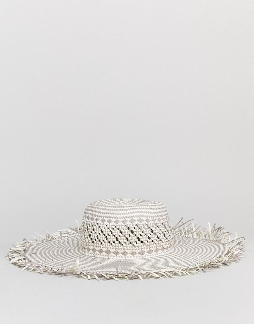 109ef5650a9 Lyst - South Beach Woven Straw Hat With Frayed Edge in Natural