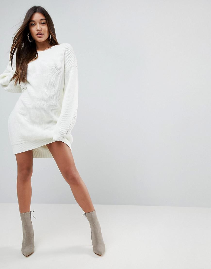 Chunky Dress With Awkward Sleeve - Cream Asos 63Mf1Oz5D