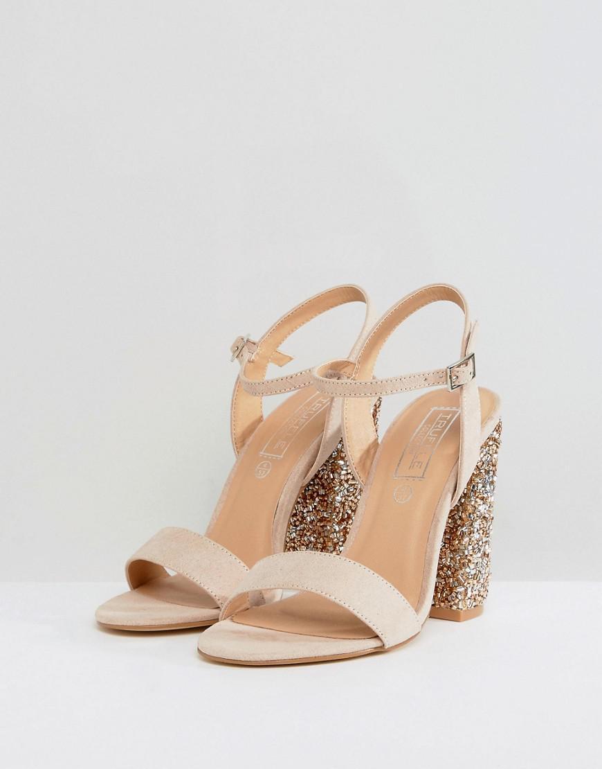 5d6ecc33c879 Truffle Collection Sparkle Block Heel Sandal in Blue - Lyst