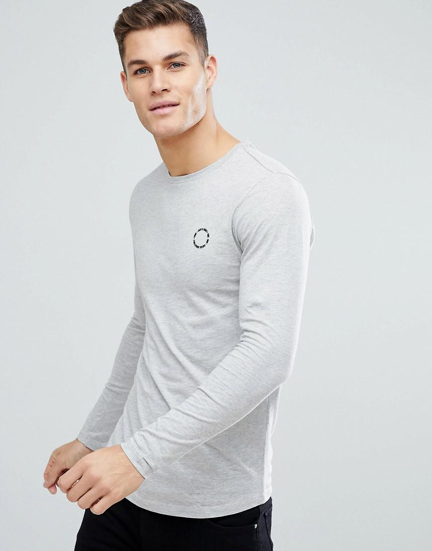 c666d358 Jack & Jones Long Sleeve T-shirt With Chest Branding in Gray for Men ...