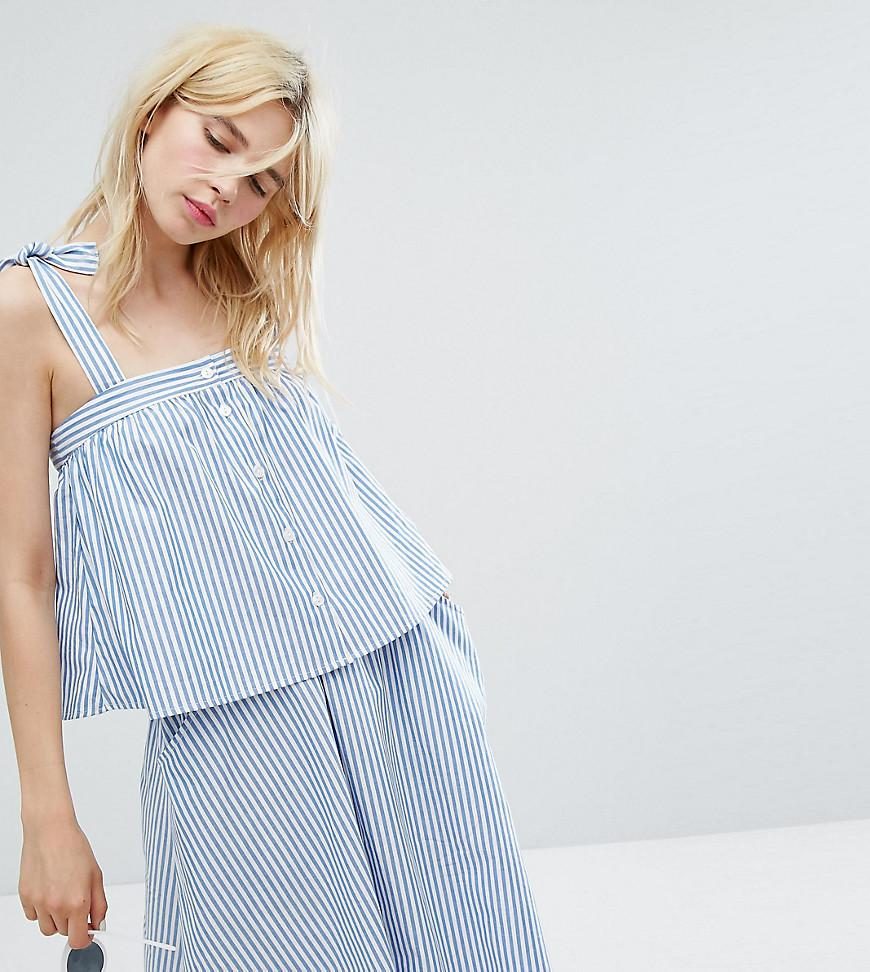 8f647a7e14a Monki Striped Tie Shoulder Smock Top in Blue - Lyst