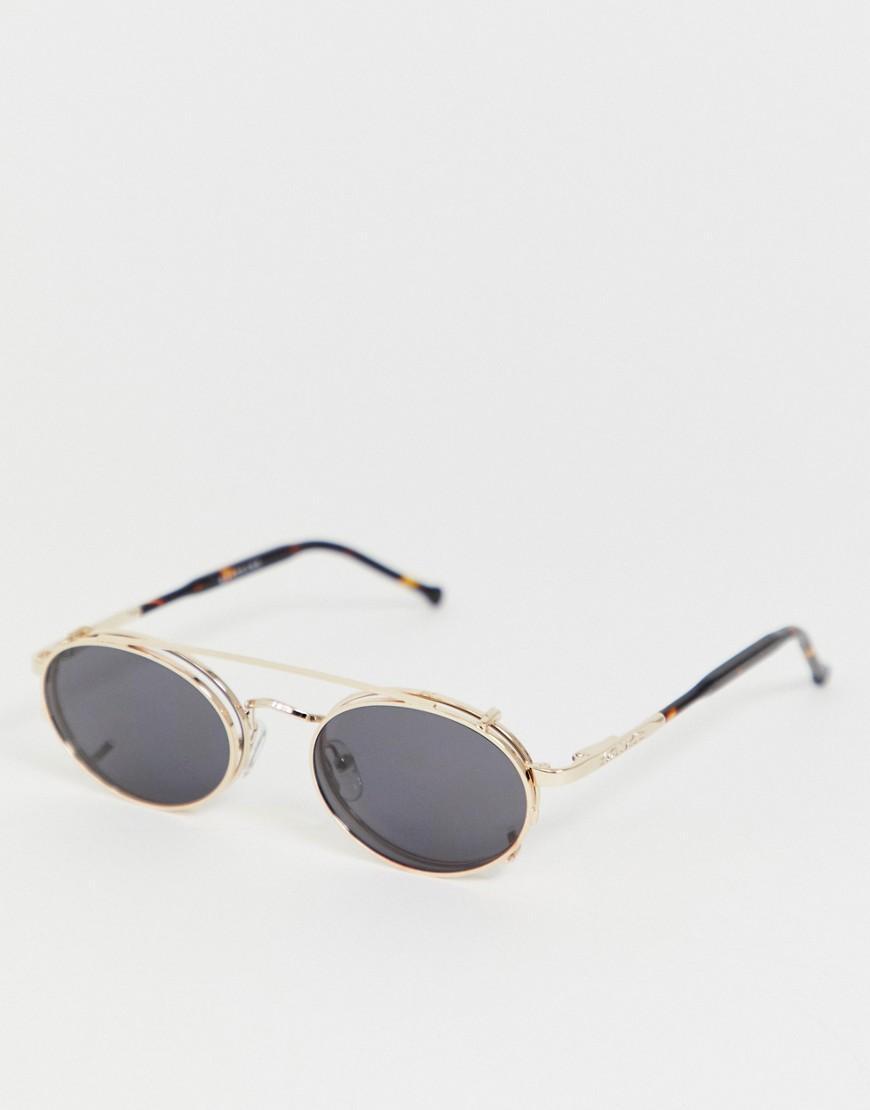 60ac76ebfd Gafas de sol redondas con lentes de clip en dorado Spectrum de ...