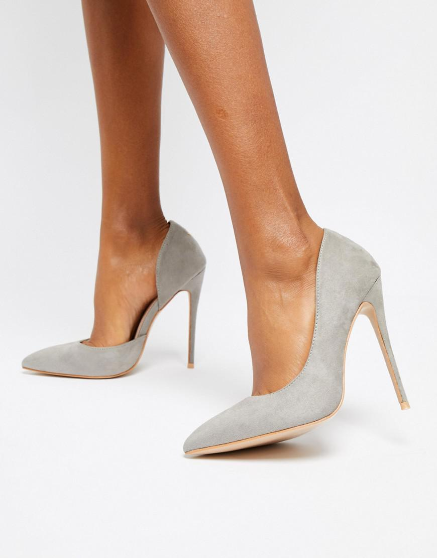 5ed231bd143a Lyst - Public Desire Sweet Light Grey Court Shoes in Gray