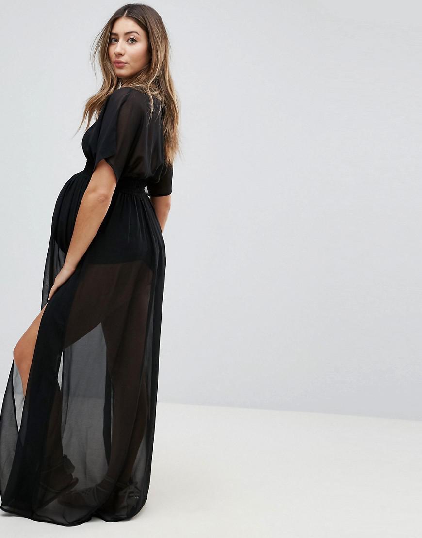 5e2945cc49 ASOS Asos Design Maternity Shirred Waist Maxi Chiffon Beach Caftan ...