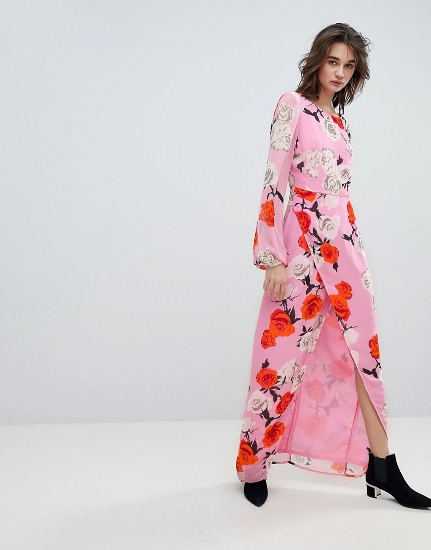 5117cd256f8 Gestuz Rose Printed Maxi Dress With Open V Back in Pink - Lyst