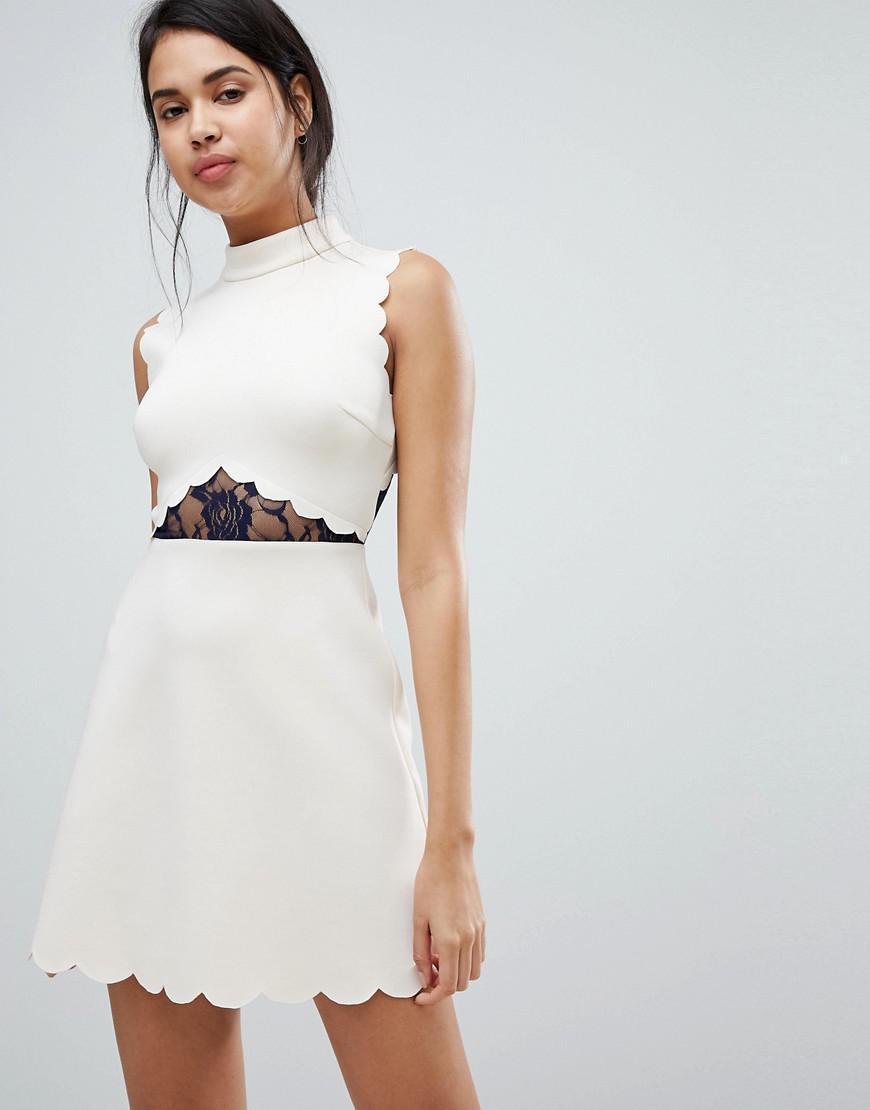 Lyst - ASOS Asos Scallop   Lace A Line Mini Dress in Natural af2fb8cc6