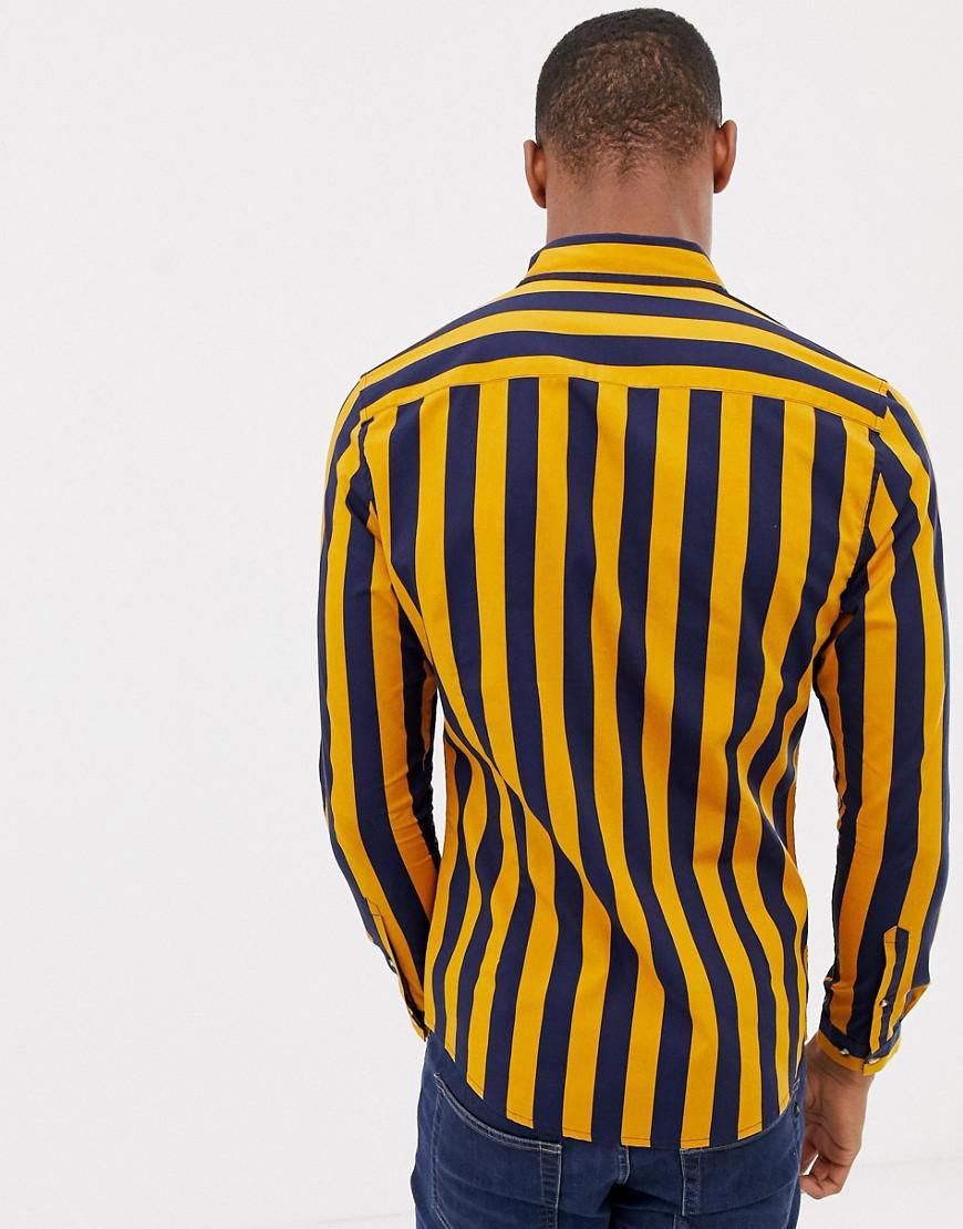 Lyst asos skinny fit stripe shirt in navy mustard in blue for men jpg  870x1110 Navy b479b96ef