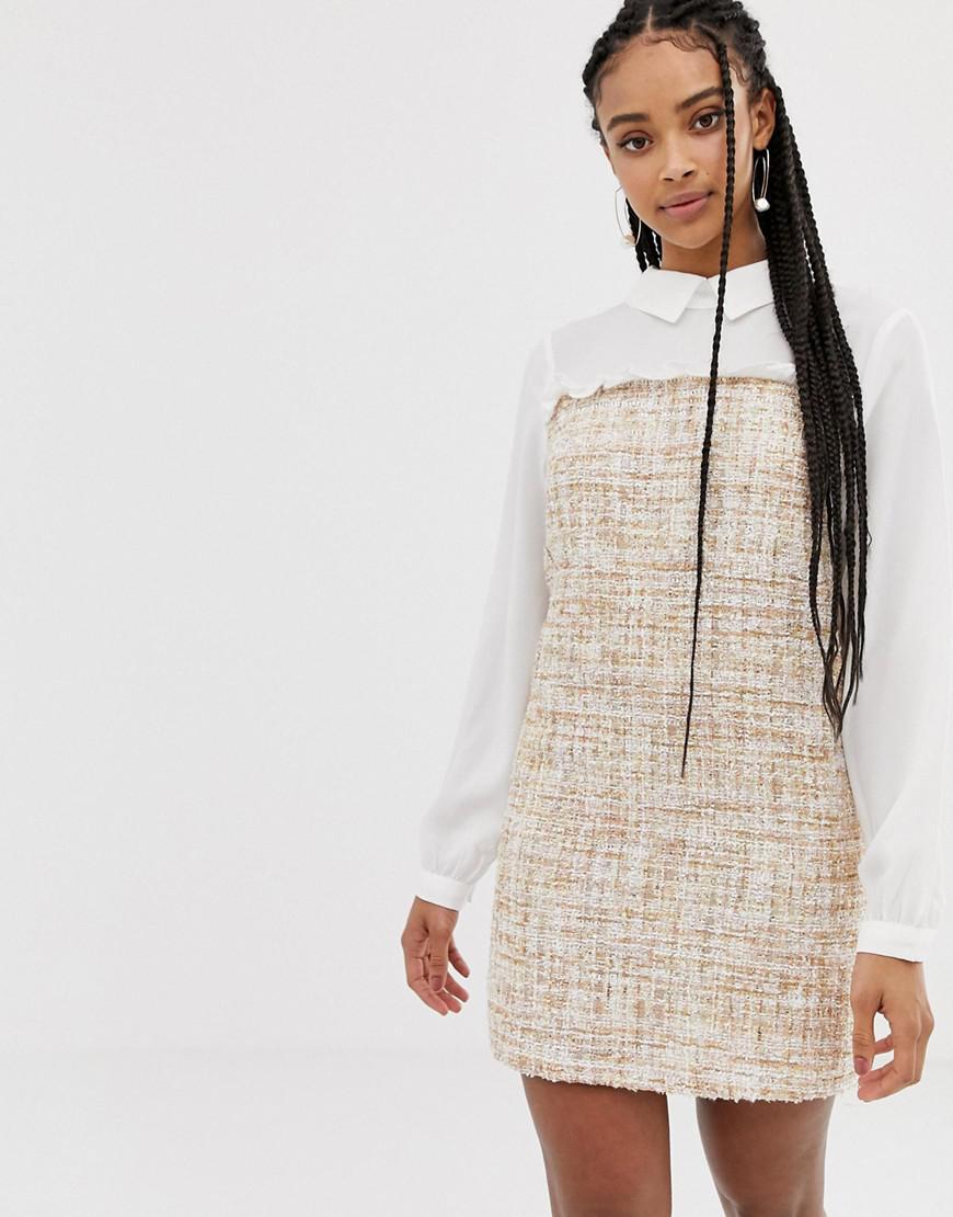 b7a8d3753eea Amy Lynn Long Sleeve Contrast Shirt Dress in Natural - Lyst