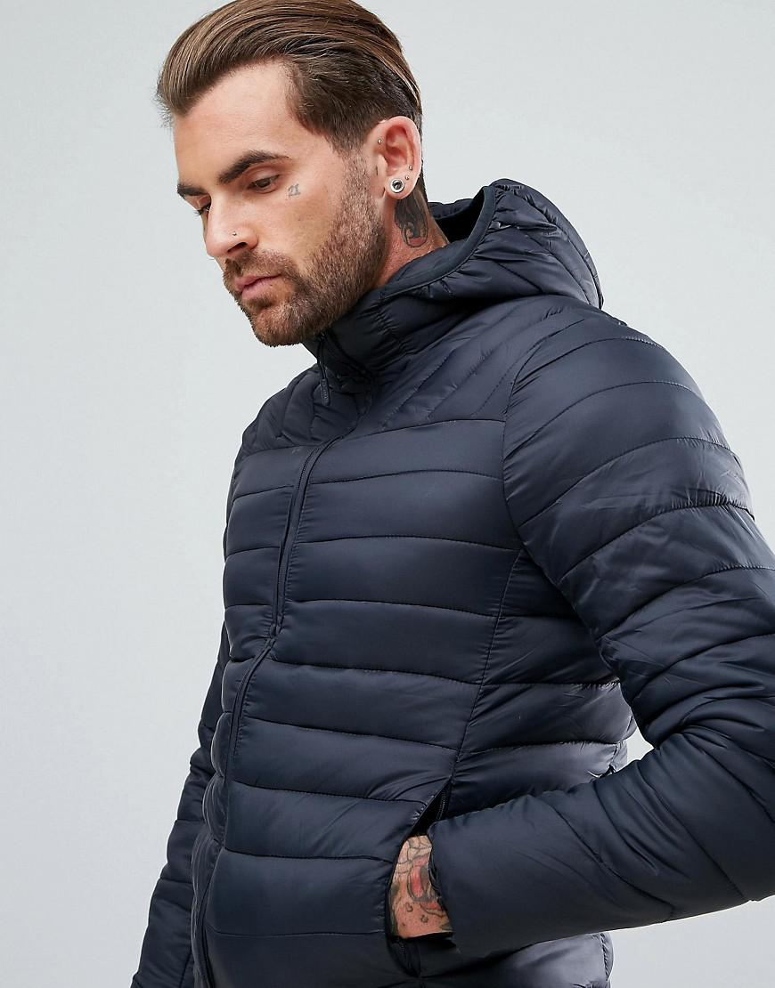Lyst Pullbear Quilted Jacket With Hood In Navy In Blue For Men