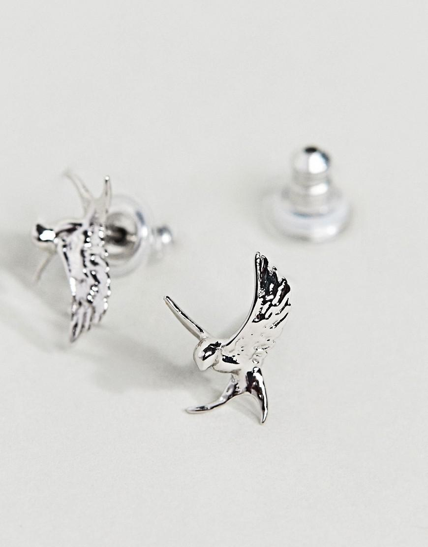 Sterling Silver Swallow Stud Earrings - Silver Bill Skinner CKQnr81N