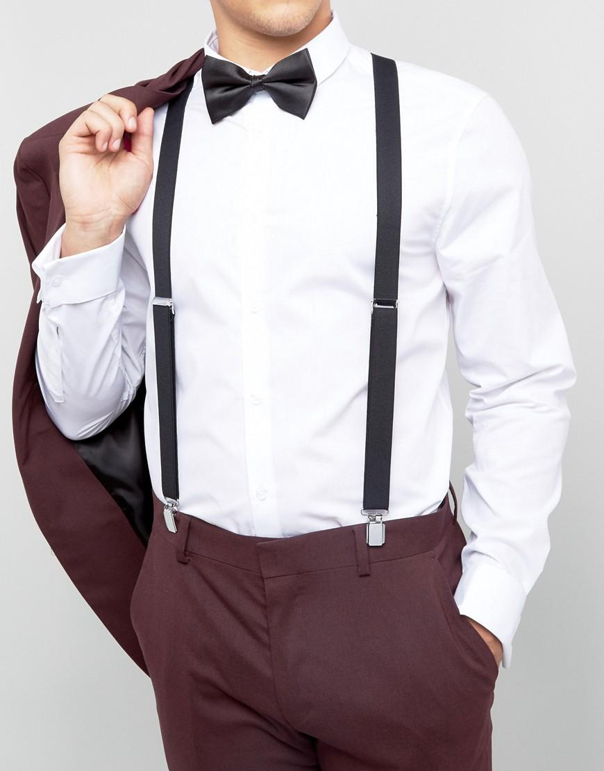 902349101b7d ASOS Bow Tie And Braces Gift Set In Black in Black for Men - Lyst