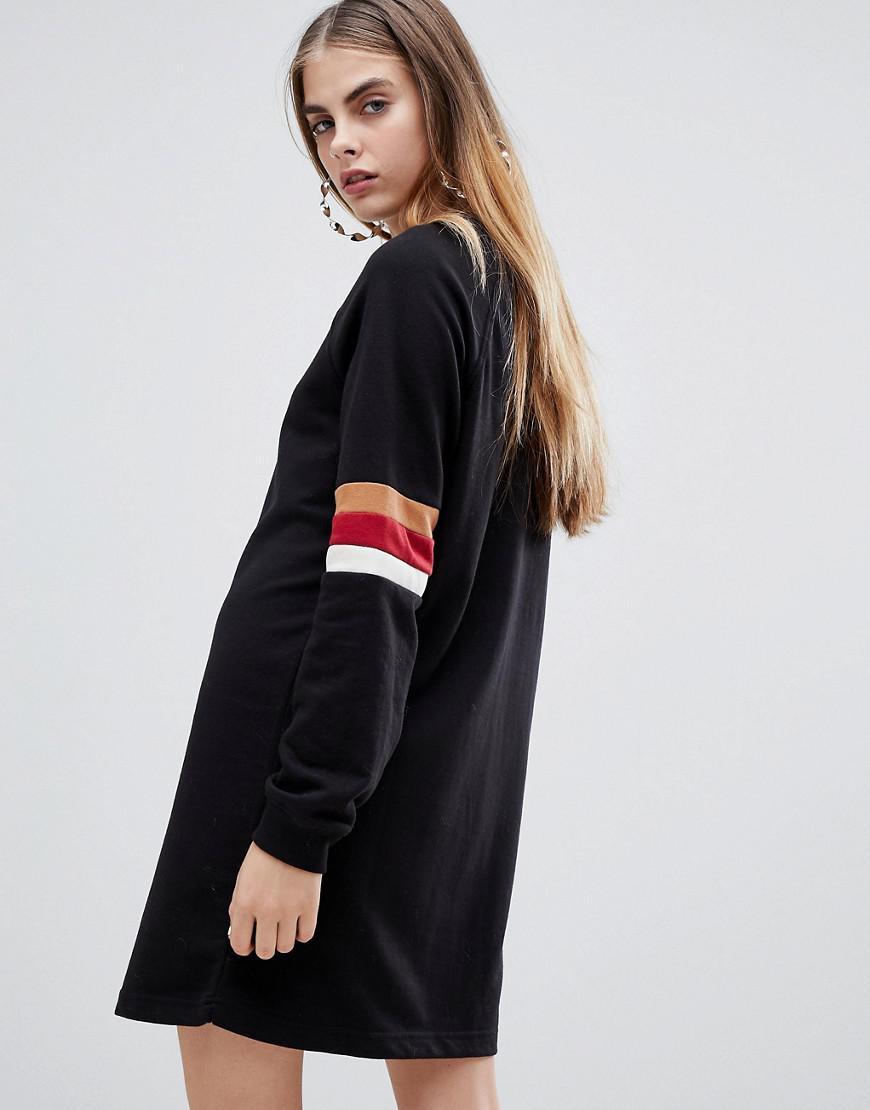 69576ed4389 Lyst - Bershka Stripe Sleeve Sweat Dress in Red