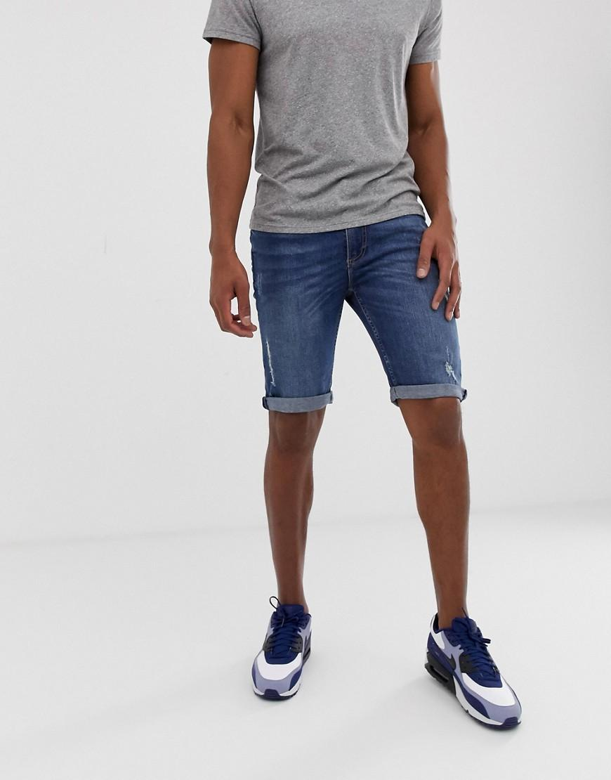 14479e68bd River Island Skinny Shorts In Mid Wash Blue in Blue for Men - Lyst