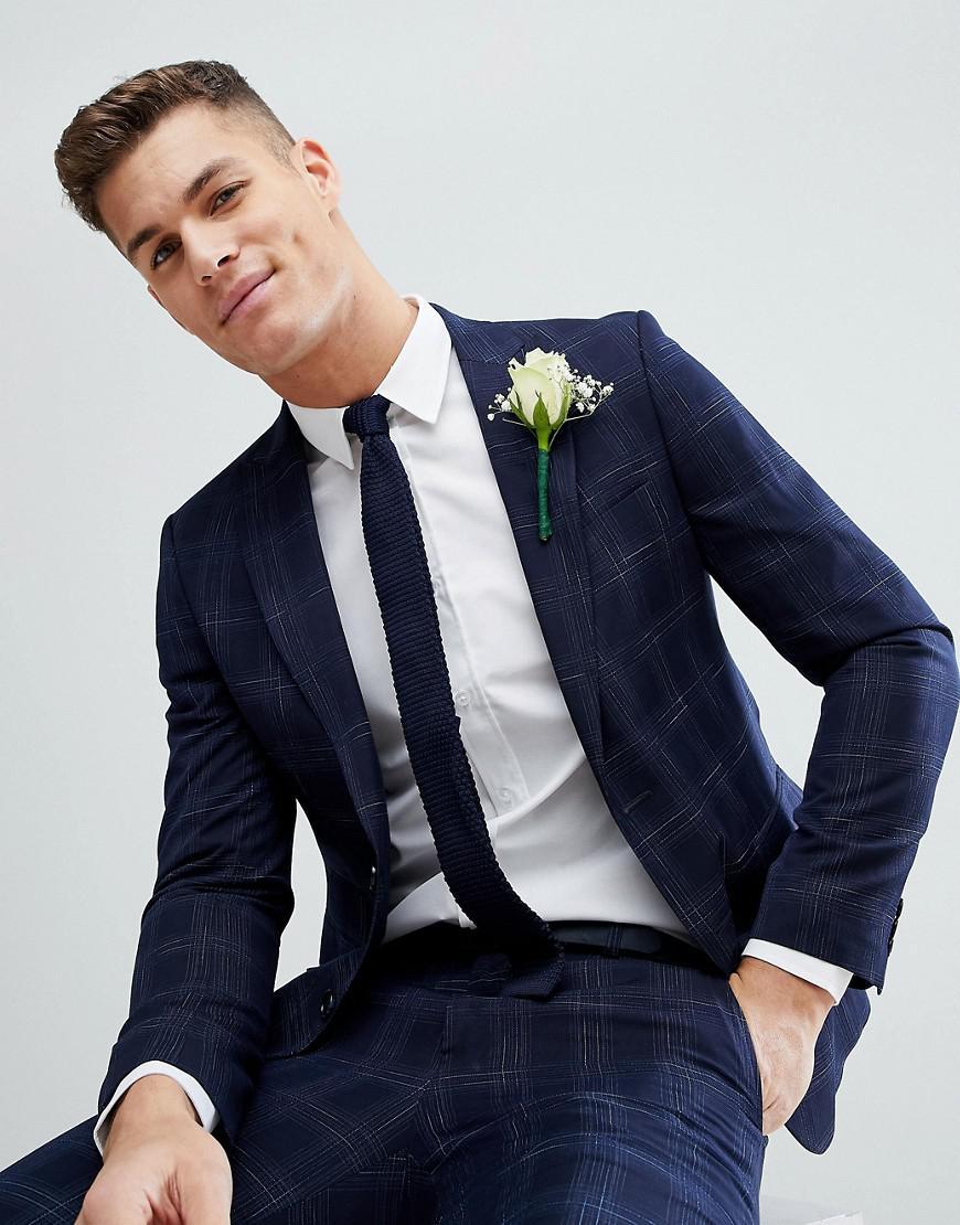Lyst - Moss Bros Moss London Skinny Wedding Suit Jacket In Navy ...