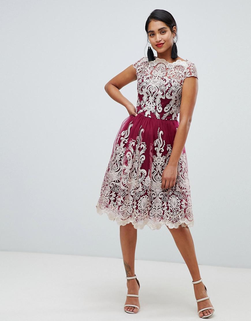 Chi Chi London Premium Metallic Lace Midi Prom Dress In Berry in Red ... 13d37eb856
