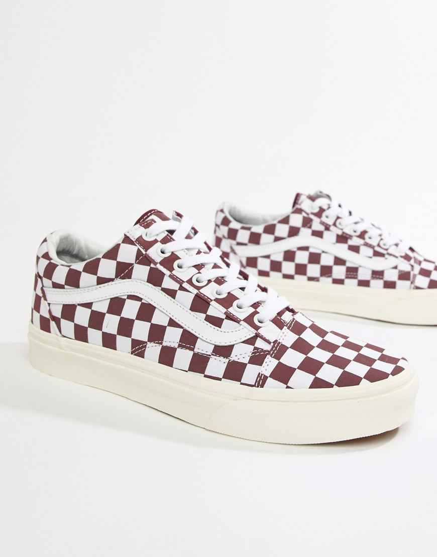 becb00377c Vans Old Skool Checkerboard Trainers In Red Vn0a38g1u541 in Red for ...